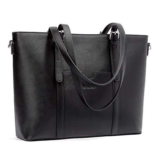 BROMEN Muttertagsgeschenk Leder Handtasche Damen Shopper 15.6 Zoll Laptoptasche 3-Way Schultertasche Arbeitstasche Frauen Groß Umhängetasche Schwarz