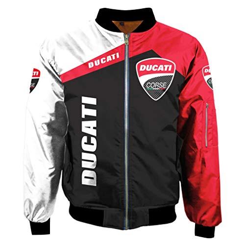 Hombres Invierno Exterior Impresión Digital Ducati Chaqueta del Logotipo del Coche Uniforme De Béisbol Traje De Vuelo (1,L)