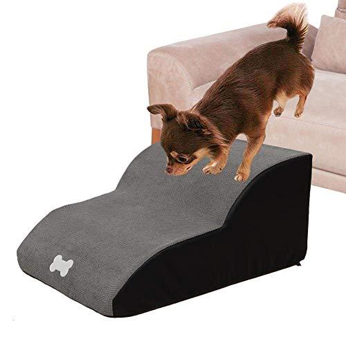 Chien Escaliers-Haute Densité Éponge 2 Couches Pente Pet Escaliers Étape-Chien Rampe Canapé Lit Échelle-Amovible Lavable Pet Échelle-pour Les Lits De Haute Et Canapé (Gris)