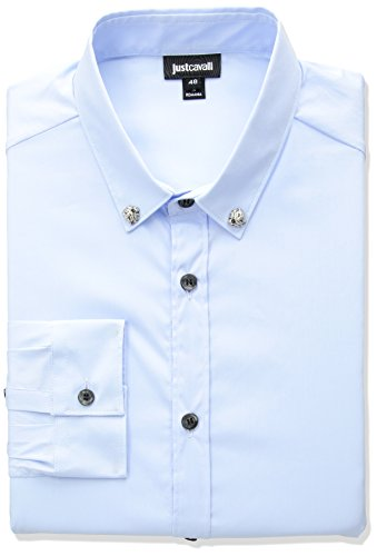 Just Cavalli Herren Mens Classic Slim Fit Shirt Hemd, Blauer Nebel, 60