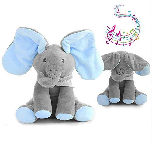 JNTM Elefante Peluche de Juguete, Música Juguete de Peluche para bebé Elefante, Juego Ocultar y Buscar Muñeca de Peluche Animada de Felpa Gran Regalo Navidad para niños y Adultos Blue