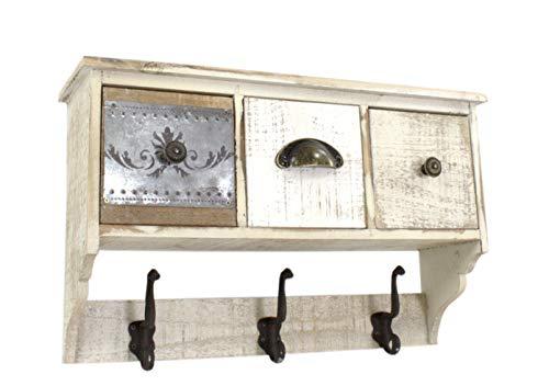 DARO DEKO Holz Wand-Garderobe 3 Schubladen 49cm x 15cm x 30cm