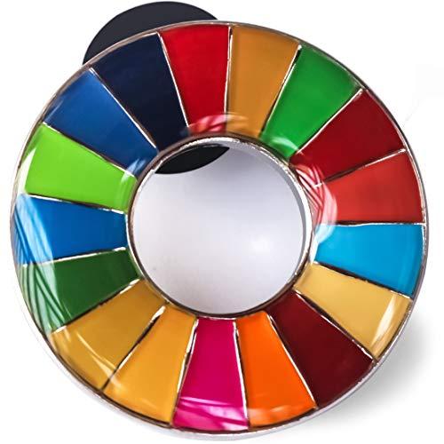 SDGs バッジ(1個) ピンバッチ バッヂ 表面が丸みのあるタイプ 襟章 高級 人気 おしゃれ ギフト 日本未発売 正規品 ピンバッジの留め具 銀色2個 (表面が丸みのあるタイプ(1個))