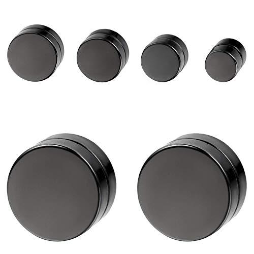 Aroncent 8pcs Negro Círculo con diseño de cierre magnético no Piercing Stud Pendientes para Hombres Mujeres