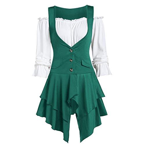 Alangbudu Women 2 Piece Outfit Cold Shoulder Long Short Sleeve A Line Swing Tops Layered Hem Blouse Business Suit Set Green