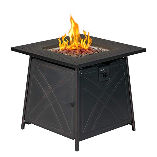 BALI OUTDOORS Gas Fire Pit Table, 28 inch 50,000 BTU Square Outdoor Propane Fire Pit Table with Lid and Lave Rocks