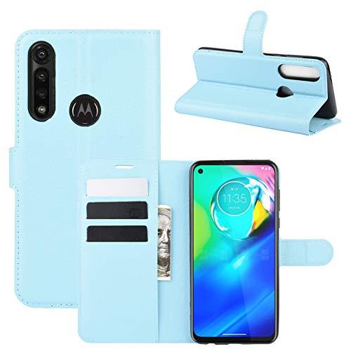 MINGYOUNG Funda de cuero Premium Flip Book Wallet Card Holder Pocket Bumper Cover Compatible con Motorola Moto G Power (azul)