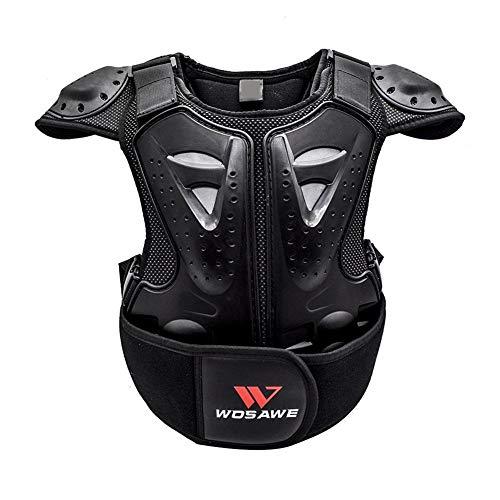 Kinder Motorrad Fahrrad Weste Brustpanzer Schutzausrüstung Rüstung Weste Rückenschutz Wirbelsäule für Riding Skating Roller Skifahren Snowboard, mit Rückenprotektoren (Schwarz)