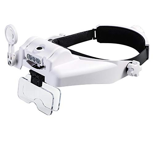 Headband Magnifying Glass with Light, Head Mount Magnifier Glasses Visor Handsfree Reading Magnifying Glasses for Close Work, Jewelers loupe, Sewing, Crafts, Hobbies, Repair (1.0X to 14X)