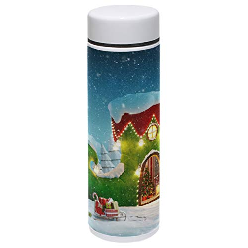 Christmas Thermos Vacuum Insulated Bottle,Elf Shoe Fairy House Forest Candy Cane 304 Stainless Steel Water Bottle for Kids Adult,BPA Free Coffee Travel Mug Cup Mini 7.5 Oz Best Christmas Gifts