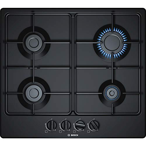 Bosch PGP6B6B80 Table à gaz encastrable - 4 foyers - Puissance 7500 W - 60 cm, Noir