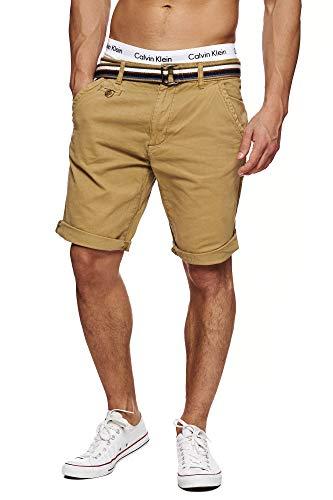 Indicode Herren Cuba Chino Shorts mit 5 Taschen inkl. Gürtel aus 100% Baumwolle | Kurze Hose Regular Fit Bermudas Sommerhose Herrenshorts Short Men Pants Chinohose für Männer Amber L