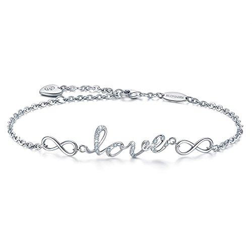 BlingGem Forma de Amor Pulsera de Oro Blanco Plateado de Plata de ley 925 CZ Letras de Amor con Plata Símbolo Infinito Regalo de Joyería para Día de la Madre
