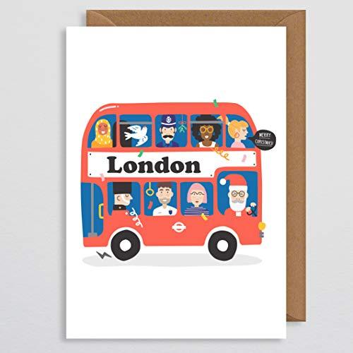 London Bus Kerstkaart - Handgemaakt - Routemaster Bus - Rode Bus - London Print - London Map - London Underground - Leuke - voor Hem - voor Haar - Boyfriend - Vriendin - Echtgenoot - Vrouw - Brits
