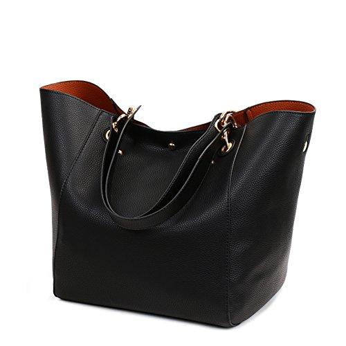 Valleycomfy Damen Tasche Einkaufstasche Pu Leder Handtasche Schultertasche (Schwarz)