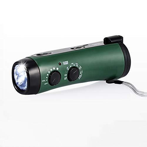 Radio Am/FM Portátil, Radio de Emergencia Dinamo Manivela con 1200mAh Power Bank Linterna LED, 5LED, USB Recargable Meteorológica Radio con Alarma SOS para Familiar Campin