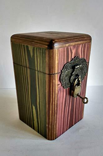 Hucha original de colores de madera reciclada de palet, hecho a mano