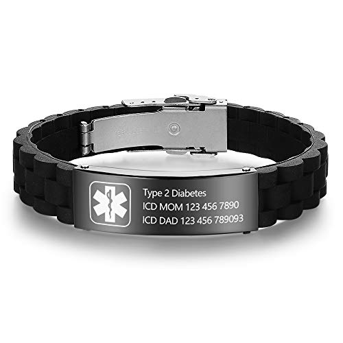 DaMei Pulsera de Alerta Médica Personalizado de Acero Inoxidable Etiqueta de ID para Hombre Mujer Personalizada del Brazalete Identificación Alerta Médica Pulsera (con ID médica)