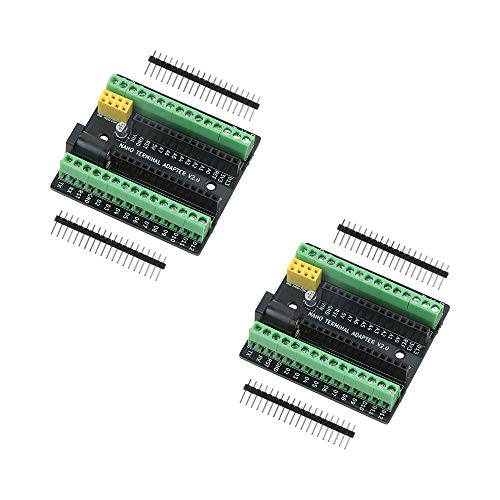Emakefun Nano-Terminal-Erweiterungs-Adapterplatine für Arduino Nano V3.0 AVR ATMEGA328P mit NRF2401+ Erweiterungsschnittstelle, DC-Netzteil-Schnittstelle (2 Stück)