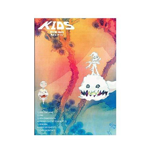 ZFLSGWZ Kanye West Kid Cudi Kids See Ghosts Álbum Lienzo Pintura Música Cubierta Música Star Posters E Impresiones Arte De La Pared Imagen Decoración-50X70Cm Sin Marco
