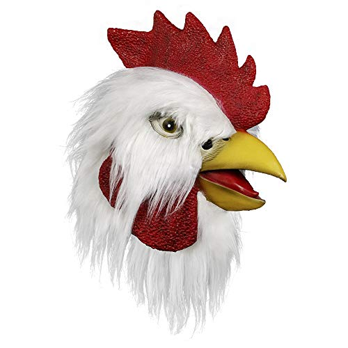 molezu Chicken Mask, Halloween Novelty Costume Party Latex Animal Head Mask Rooster Cosplay Props, White
