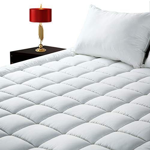 GOPOONY Ultra Soft King Size Mattress Pad Quilted Mattress Padding Topper Cover 400 TC Cotton Top Deep Pocket 8'-21' Fitted Pillow Top Padding Breathable (White, King)