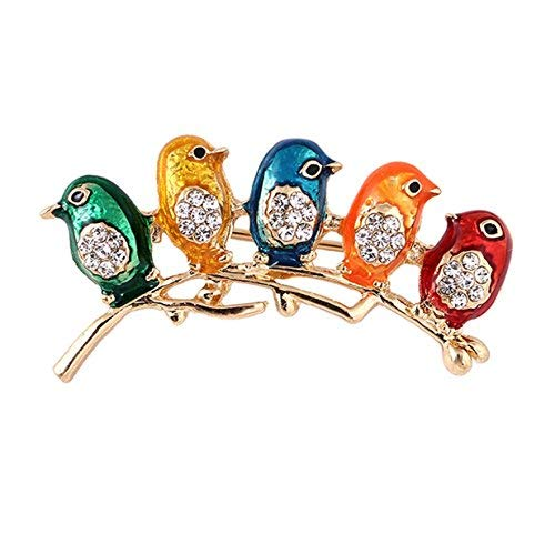 EJY Crystal Little Birds Brooches Pins Christmas Wedding Gift for Women