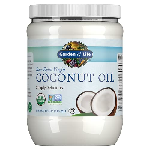 Garden of Life Organic Extra Virgin Coconut Oil - Unrefined Cold Pressed Coconut Oil for Hair, Skin and Cooking, 14...