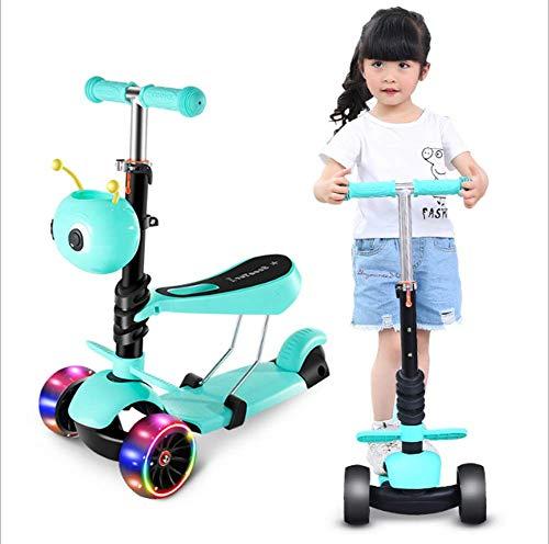Strele 3-in-1 Kinder Tretroller 3-Rad Rollator Abnehmbarer Sitz höhenverstellbar LED-Blitz-Rad für Kinder 1-8 Jahre alt,Grün