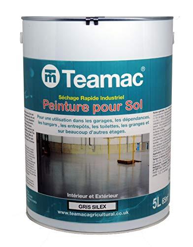 Teamac - Peinture pour sols industriels intérieurs et extérieurs - Gris silex 5L