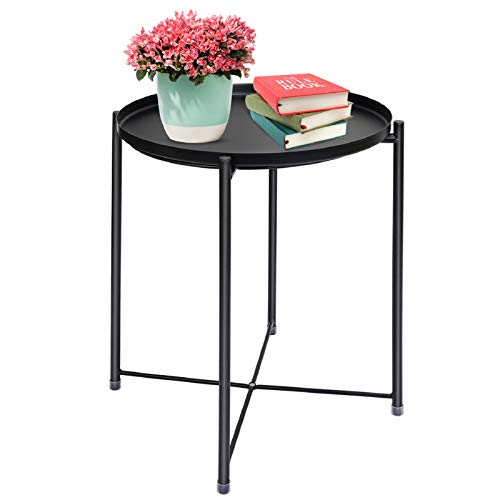 Round Tray End Table, Sofa Table Small Round Side Tables, Tray Metal End Table, Foldable Accent Coffee Table, Anti-Rust and Waterproof Outdoor & Indoor Snack Table - (H) 52 x (D) 40 CM - Black