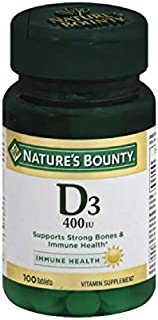 Nature's Bounty Vitamin D 400 IU Tablets 100 ea (Pack of 4)