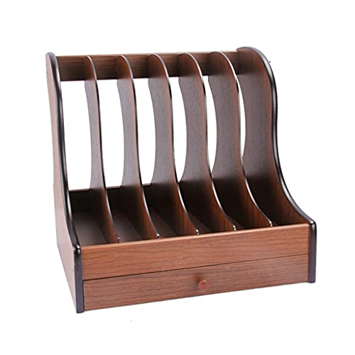 Cookbook Holders Wooden File Rack with Drawers Office Desktop File Bar Multi-layer Bookshelf Folder Office Supplies Organizing Rack Book Stand (Color : A)