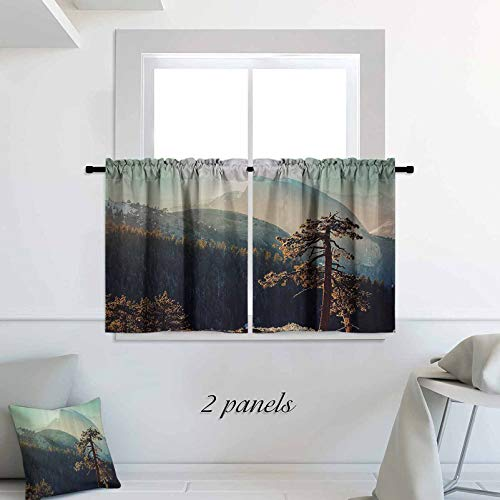 Farm House Decor Tier Curtains Yosemite National Park from The Top of Mountain Misty Morning Landscapes Photo Print Rod Pocket Small Window Curtain for Bathroom 30 x 36 inch