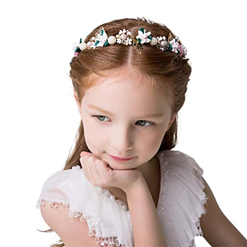 IYOU Flor Fuente Perla Boda Venda Oro Cristal Floral Comunión Cabello Cabello Accesorios por Niñas de las Flores y Dama de Honor