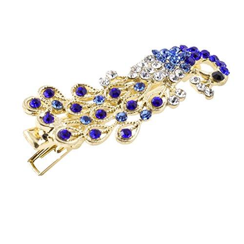 sourcingmap Girl Faux Diamant Forme Paon Épingle Cheveux Décor Clip Alligator Bleu Foncé