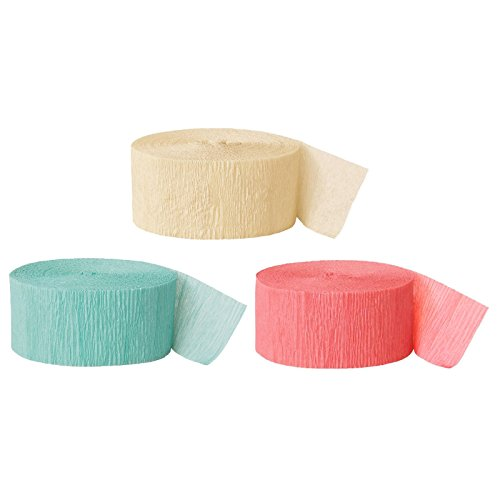 Andaz Press Crepe Paper Streamer Hanging Party Decorations Kit, 240-Feet, Ivory, Diamond Blue Mint Green, Coral, 1-Pack, 3-Rolls, Colored Wedding Baby Bridal Shower Birthday Supplies
