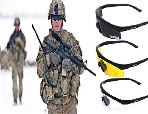 GALAXYLENSE U.S Tactical Shooting Hunting Glasses - Impact Resistant Sunglasses - 3 Replacement Lens