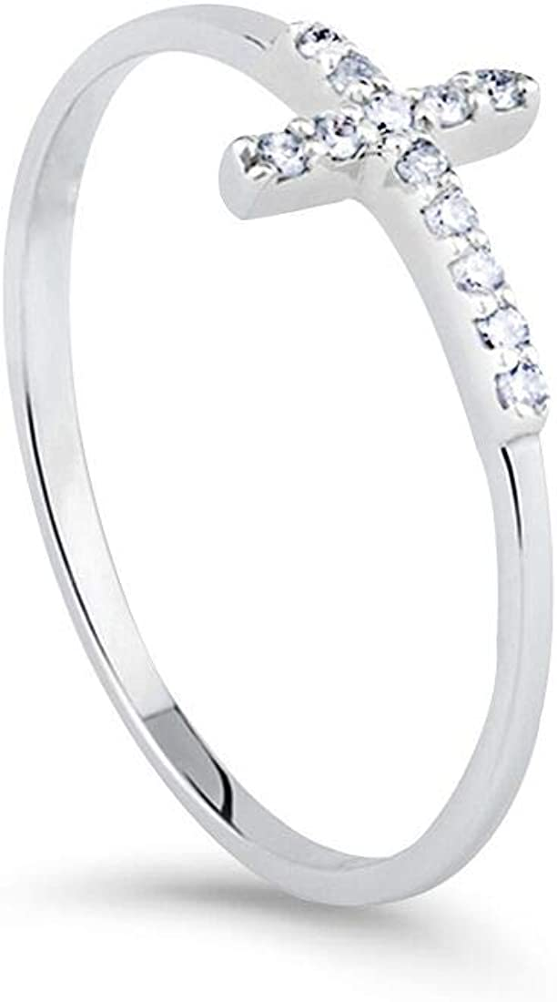 FANCIME White Gold Plated Cubic Zirconia CZ Small Thin Stackable Sideway Cross Simulated Diamond Wedding Band Ring Fashion Jewelry Gift for Women Teens Girls, Size5 6 7 8