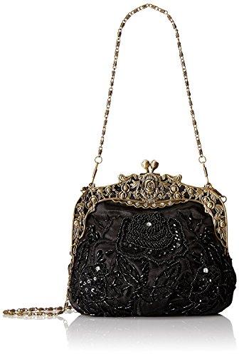 ILISHOP Women's Antique Beaded Party Clutch Vintage Rose Purse Evening Handbag (Black)