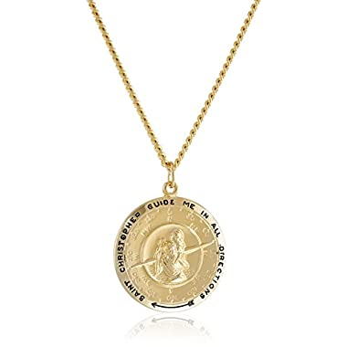 Amazon Collection Men's 14k Gold-Filled Round Saint Christopher Compass Medal with Stainless Steel Chain, 24″