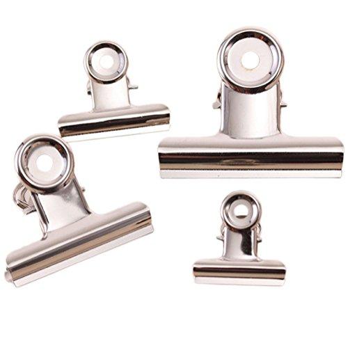 CAOLATOR Bokklämma metall rostfritt stål påsklämma fil-klämma 4 stycken