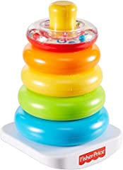 Classic stacking toy with 5 colorful rings to grasp, shake, and stack Top ring has shiny surface with rattle beads inside Bat-at rocker base for wibbly-wobbly play Helps develop fine motor skills and gross motor skills as baby grasps, shakes, and...