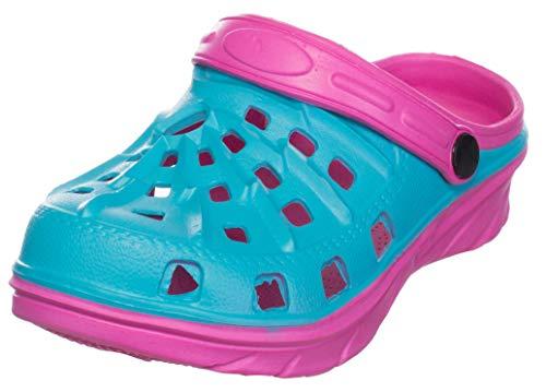 Brandsseller Kinder Hausschuh Clog Pantolette Badeschuh Gartenschuh - Türkis/Pink 28
