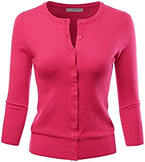 LALABEE Women's 3/4 Sleeve Crewneck Button Down Knit...
