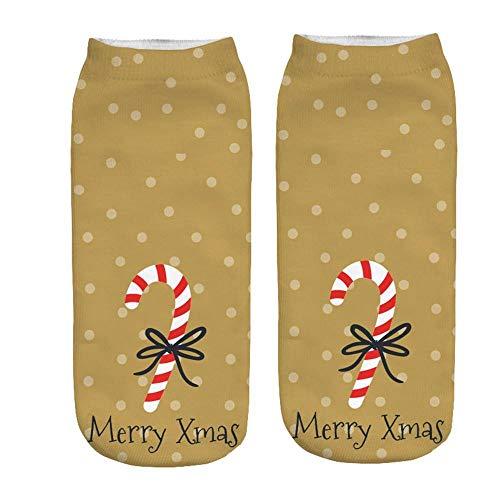 TIGERROSA Strapkousen voor dames 3 paar vrouwen 3D cartoon grappige kerstmis gek leuke nieuwigheid druk sokjes verbazingwekkende druk sokjes comfortabel geel