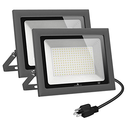 GLORIOUS-LITE 2 Pack 100W LED Flood Light Outdoor, 10000LM LED Work Light with Plug, 5000K Daylight White, IP66 Waterproof Outdoor Floodlights for Yard, Garden, Playground