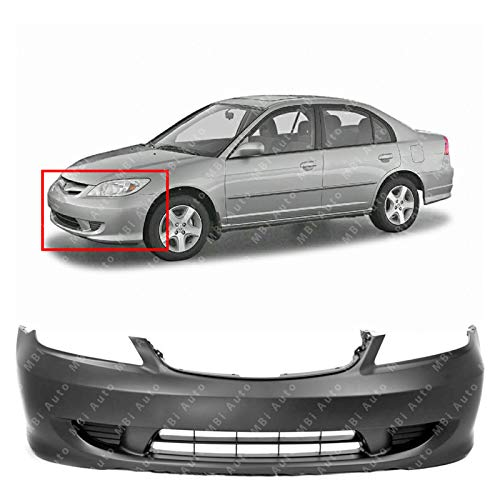 MBI AUTO - Primered, Front Bumper Cover for 2004 2005 Honda Civic, HO1000216