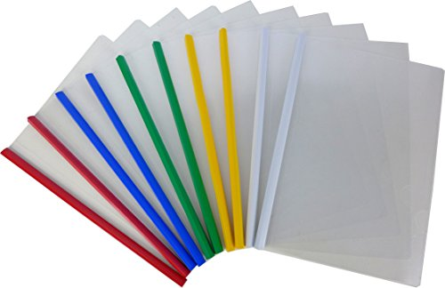 Cypress Lane Report Covers with Sliding Bar, Clipbar Presentation Slidebinder Files, Red/Blue/Green/White/Yellow (10 pcs, 20 Page Capacity, 5 Colors)