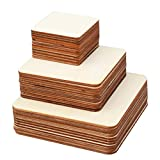 kuou 70 Pieces Unfinished Blank Wood Squares, 3 Sizes Poplar Plywood Wood Sheets for DIY Arts & Crafts...